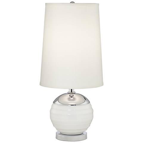 Toluca Chrome White Globe Table Lamp with Nightlight