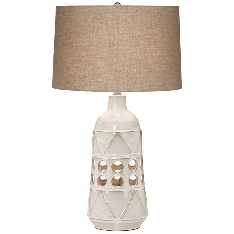 Kiowa Beige Almond Ceramic Tribal Table Lamp