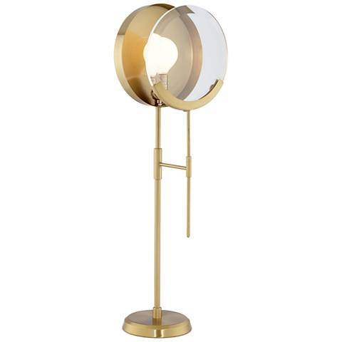 Maddox Brushed Brass Magnifying Glass Table Lamp