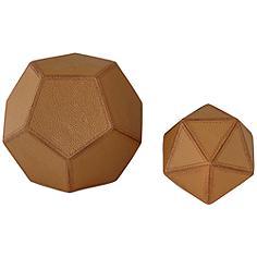 Geometric Faux Leather Decorative Balls - Set of 2