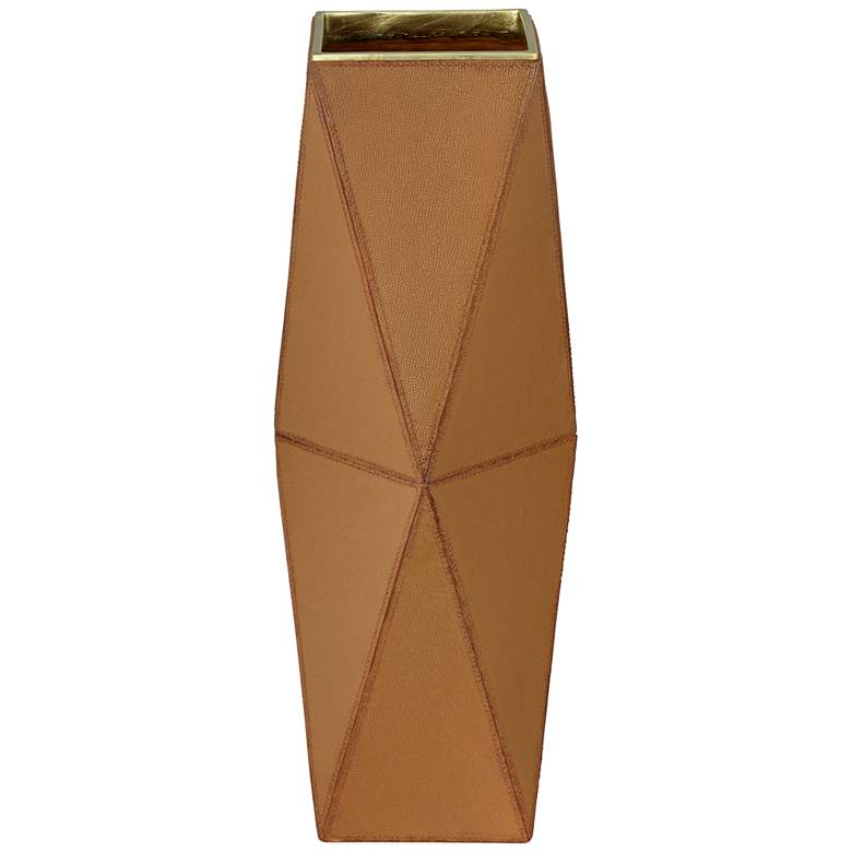 "Bronson 18"" Brown Leather Hexagon Vase"