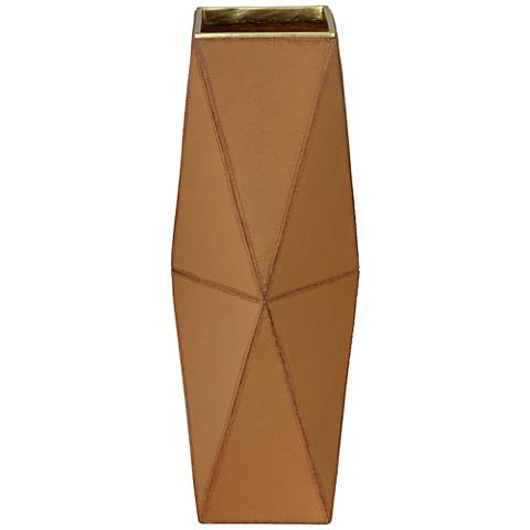"Bronson 18"" Brown Leather Hexagon Vase"