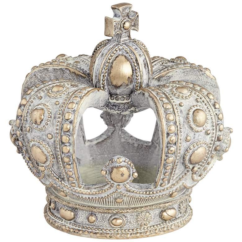"""Antique White Wash 6 3/4"""" High Crown Sculpture"""