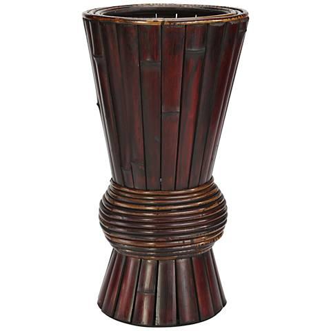 "Bamboo 17"" High Burgundy-Brown Faux Flower Vase"