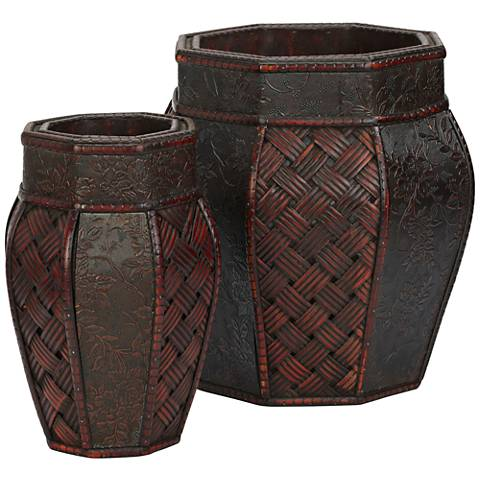 "Cross-Weave 12 1/2""H Burgundy Faux Flower Planter Set of 2"