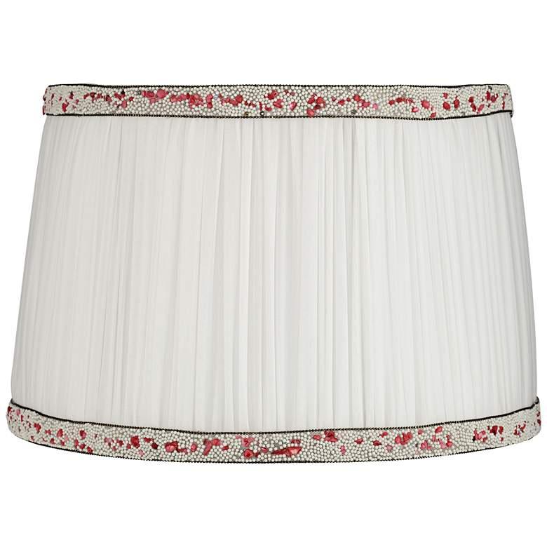 Polla White Shirring Pleat Drum Lamp Shade 12.5x14.5x9.5 (Spider)