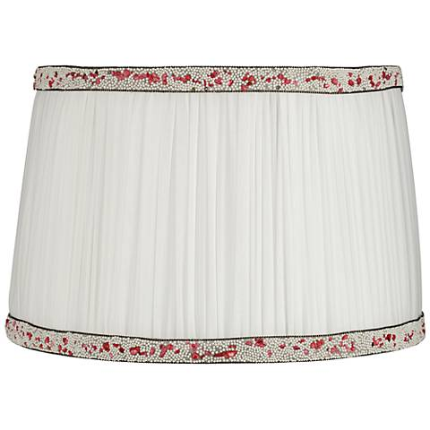 Polla White Shirring Pleat Drum Lamp Shade 12.5x14.5x9.5 (Spider)