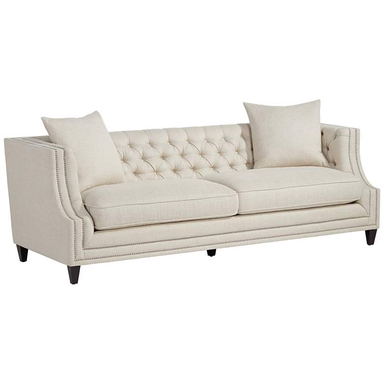 "Marilyn 93"" Wide White Linen Tufted Sofa"