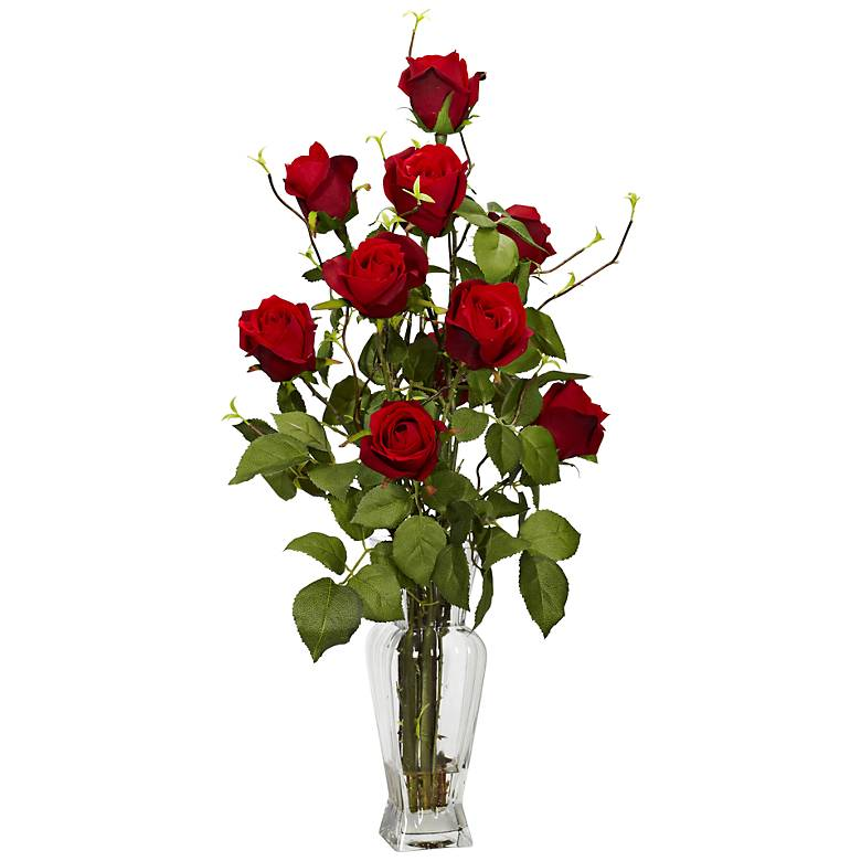 "Red Rose 28"" High Faux Flowers in Glass Vase"