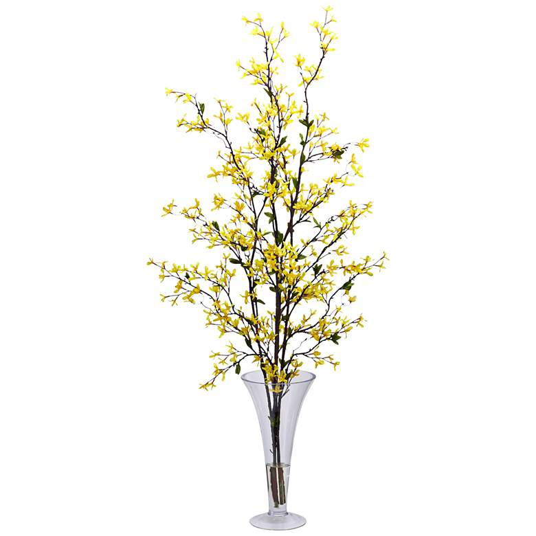 "Yellow Forsythia 45"" High Faux Flowers in Glass Vase"