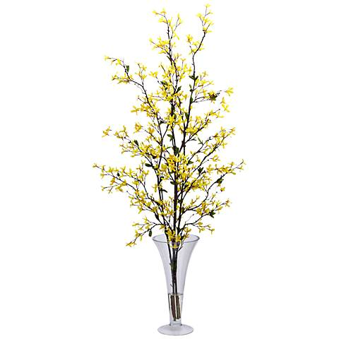 """Yellow Forsythia 45"""" High Faux Flowers in Glass Vase"""