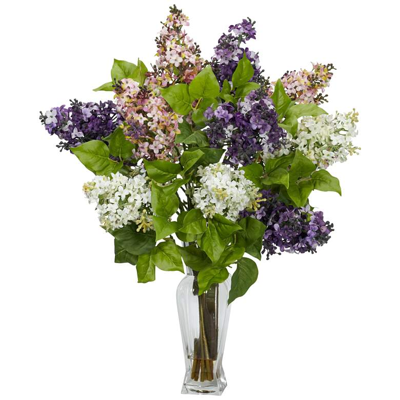 """Multicolor Lilac 24"""" High Faux Flowers in Glass Vase"""
