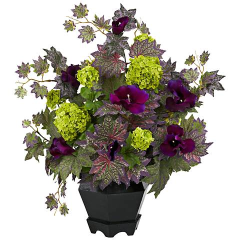 "Purple Morning Glory and Hydrangea 23""W Potted Faux Flowers"