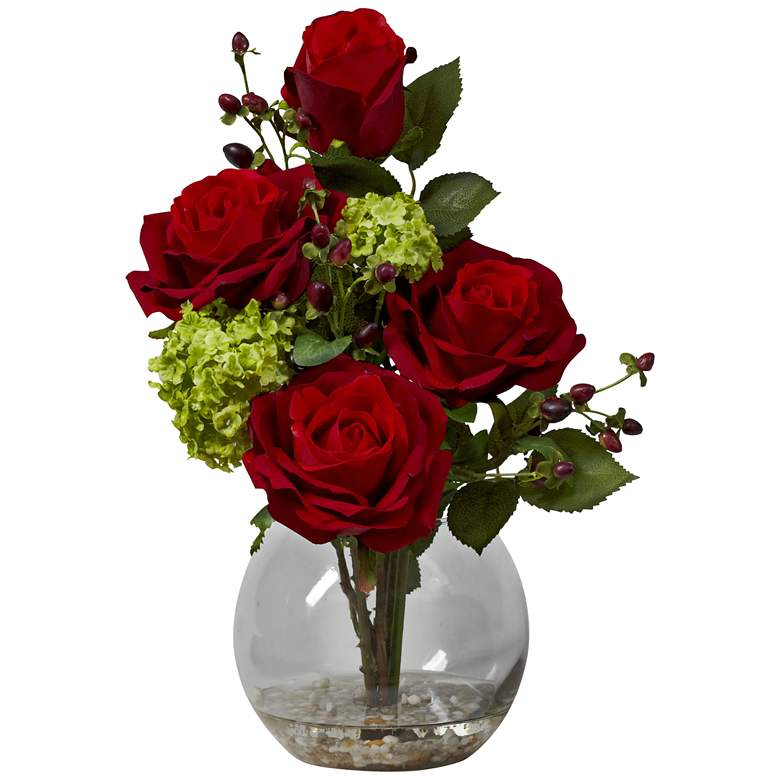 """Red Rose and Green Hydrangea 14""""H Faux Flowers in Vase"""