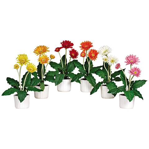 "Mixed Gerber Daisy 12"" High 6-Piece Potted Faux Flowers Set"
