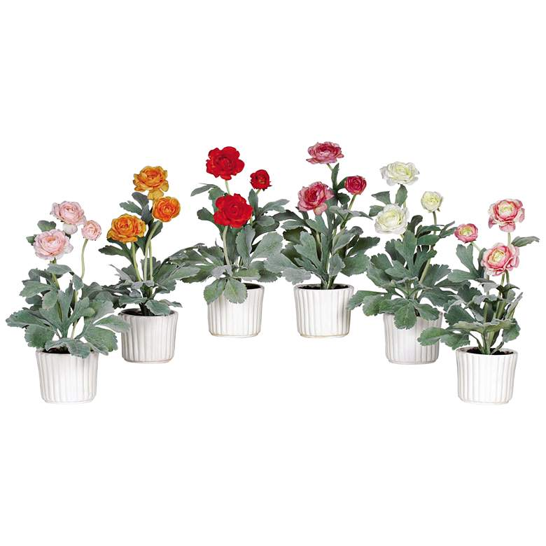 """Mixed Ranunculus 12"""" High 6-Piece Potted Faux Flowers"""