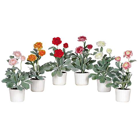 "Mixed Ranunculus 12"" High 6-Piece Potted Faux Flowers Set"