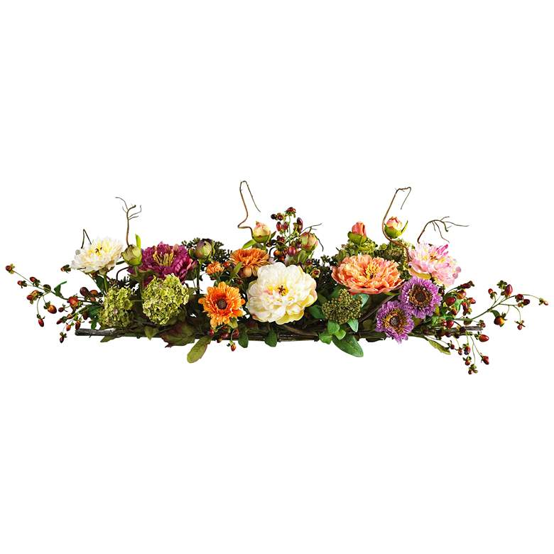 """Mixed Peony 34"""" Wide Faux Flower Centerpiece with Twigs"""