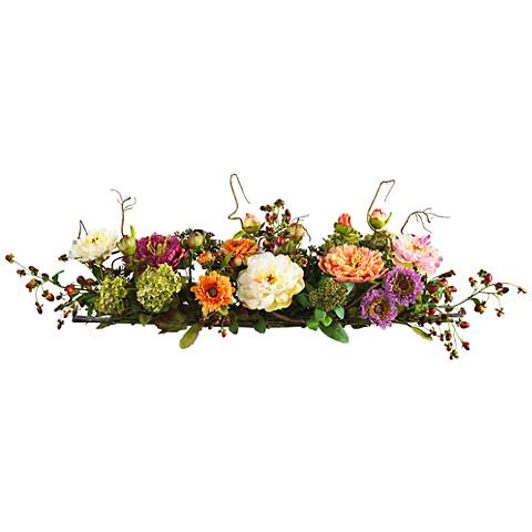 "Mixed Peony 34"" Wide Faux Flower Centerpiece with Twigs"