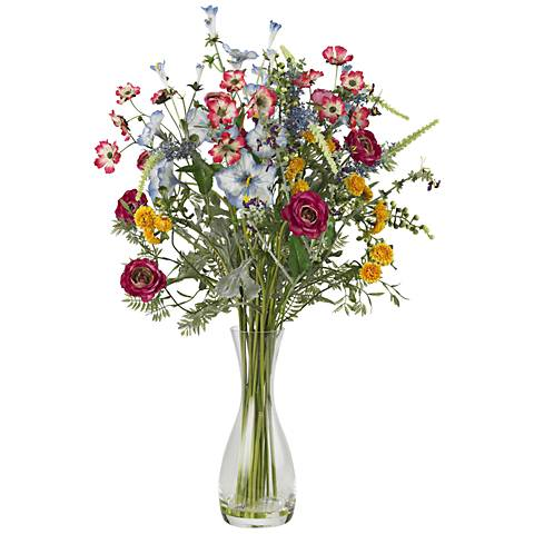 "Multicolor Veranda Garden 26"" High Mixed Faux Wildflowers"