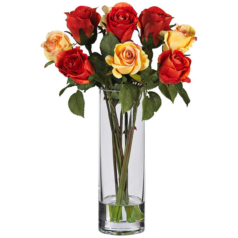"Multicolor Rose 16"" High Faux Flowers in Glass Vase"