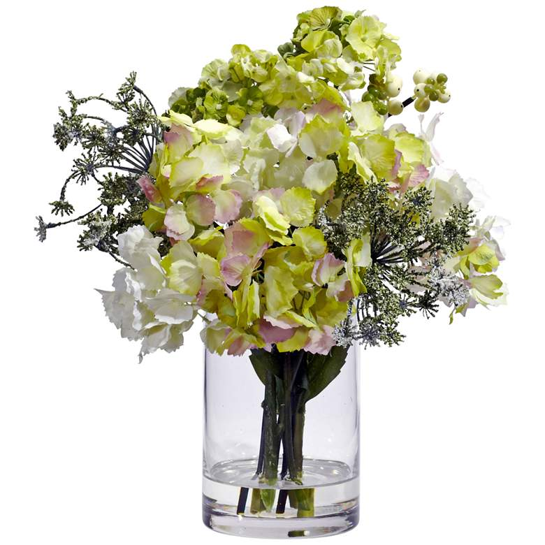 """Cream and Green Hydrangea 14"""" High Faux Flowers in Vase"""