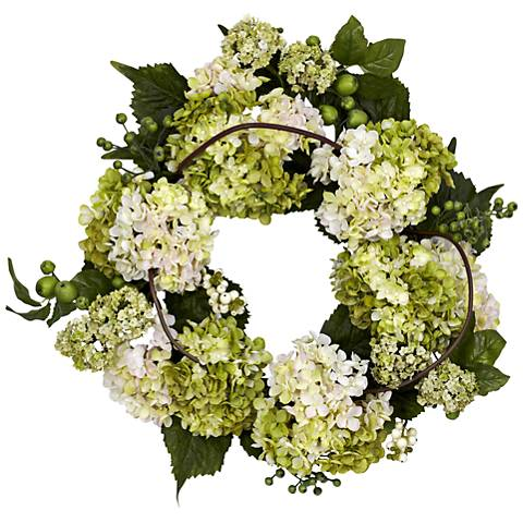 "Cream and Green Hydrangea 22"" Round Faux Flower Wreath"