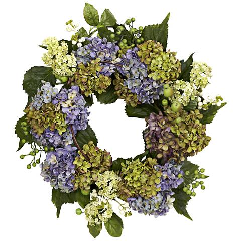 "Purple and Green Hydrangea 22"" Round Faux Flower Wreath"