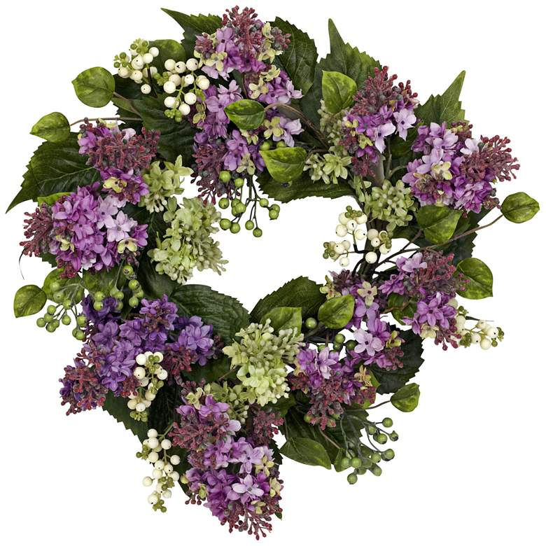 "Purple Hanel Lilac 20"" Round Faux Flower Wreath"