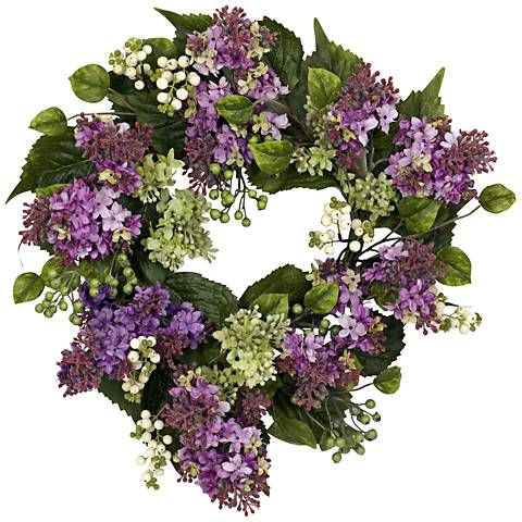 "Purple Hanel Lilac 20"" Round Faux Flower Wreath Wall Decor"