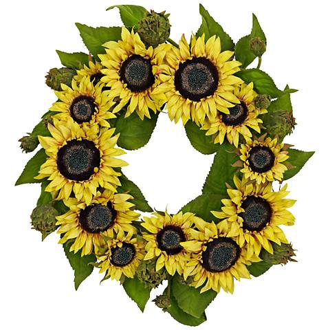 "Yellow Sunflower 20"" Round Faux Flower Wreath Wall Decor"