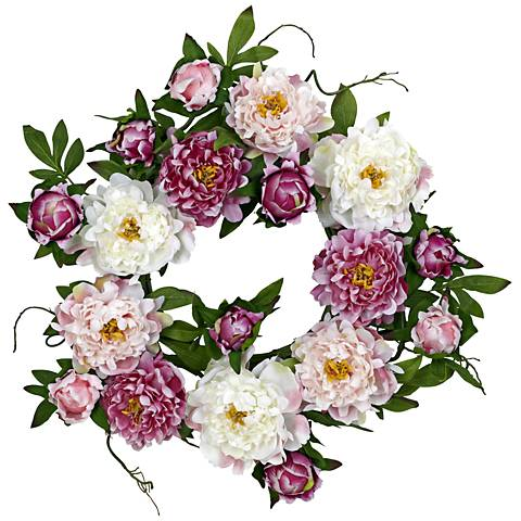 "Pink and White Peony 20"" Round Faux Flower Wreath Wall Decor"
