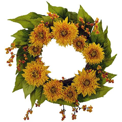 "Golden Sunflower 20"" Round Faux Flower Wreath Wall Decor"