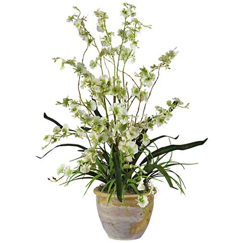 """Green Dancing Lady Orchid 26"""" High Potted Faux Flowers"""
