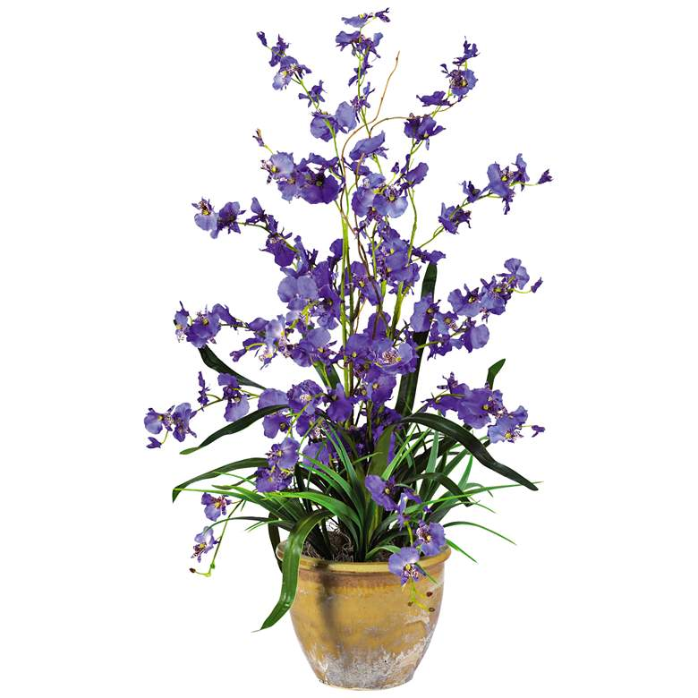 """Purple Dancing Lady Orchid 26"""" High Potted Faux Flowers"""