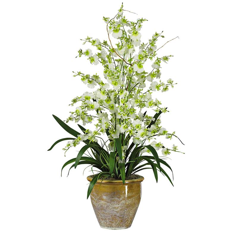 """Dancing Lady Orchids 32"""" High Faux Flowers in Ceramic Pot"""