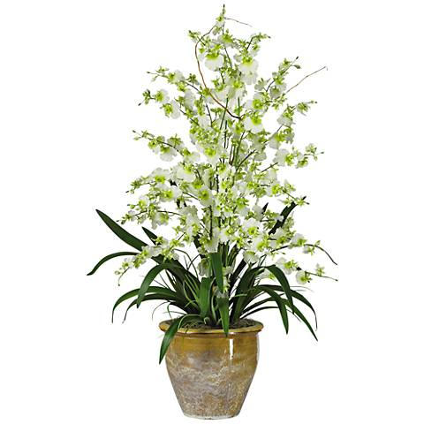 "Green Triple Dancing Lady 32""H Faux Flowers in Ceramic Pot"