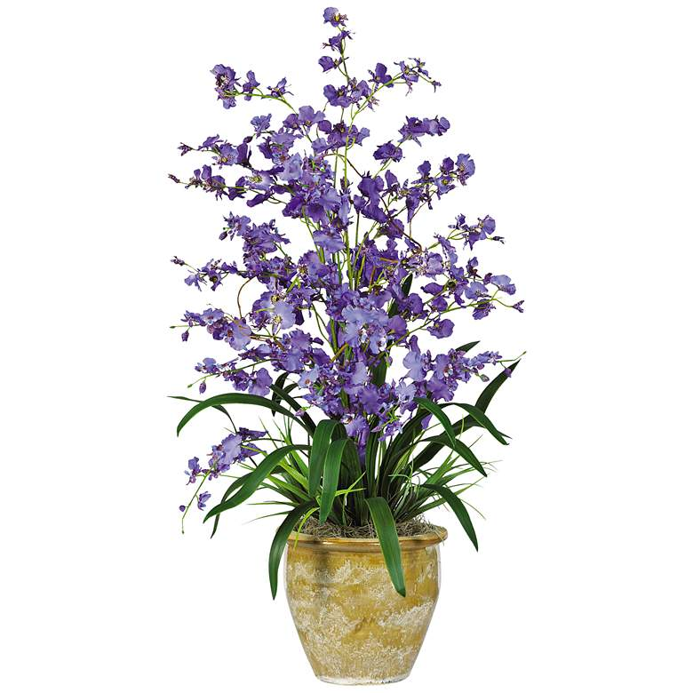 "Purple Triple Dancing Lady 32""H Potted Faux Flowers"