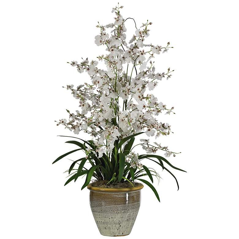 "White Triple Dancing Lady 32""H Faux Flowers in Ceramic Pot"