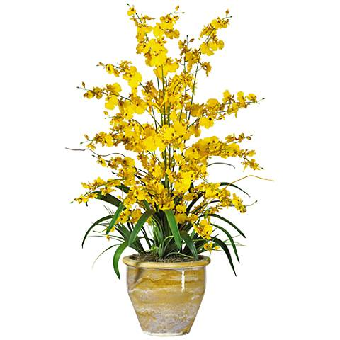 "Yellow Triple Dancing Lady 32""H Potted Faux Flowers"