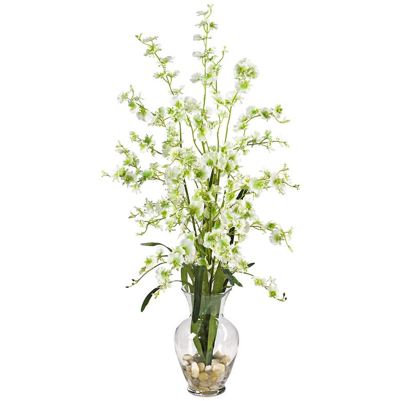 """Green Dancing Lady 31"""" High Faux Flowers in Glass Vase"""