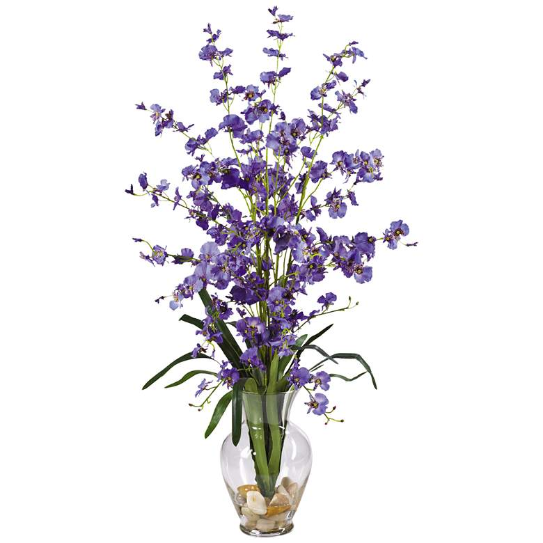 """Purple Dancing Lady 31"""" High Faux Flowers in Glass Vase"""