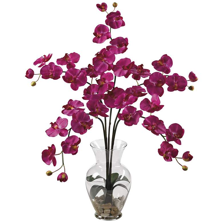 "Beauty Phalaenopsis Orchid 31""H Faux Flowers in Glass Vase"