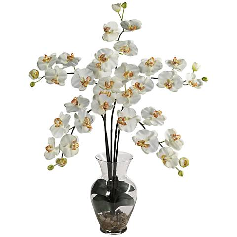 "Cream Phalaenopsis Orchid 31""H Faux Flowers in Glass Vase"