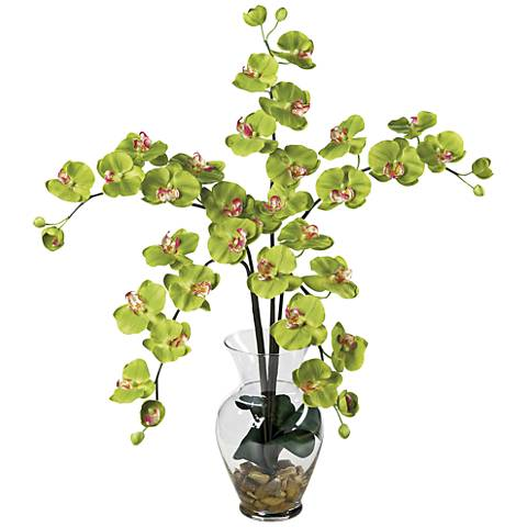 """Green Phalaenopsis Orchid 31"""" H Faux Flowers in Glass Vase"""