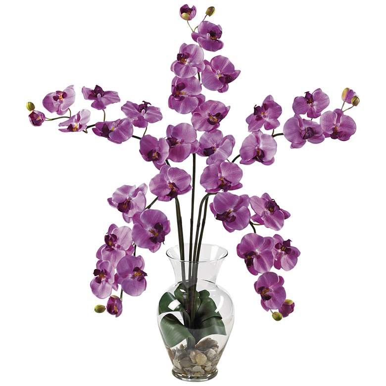 """Mauve Phalaenopsis Orchid 31""""High Faux Flowers in Glass Vase"""