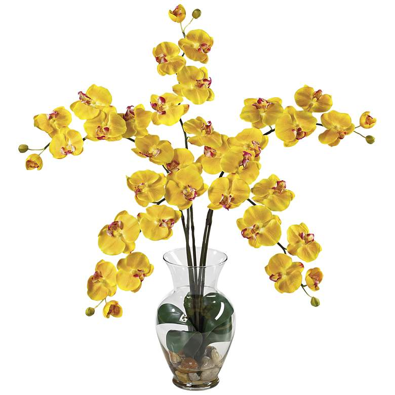 """Yellow Phalaenopsis Orchid 31""""H Faux Flowers in Glass Vase"""