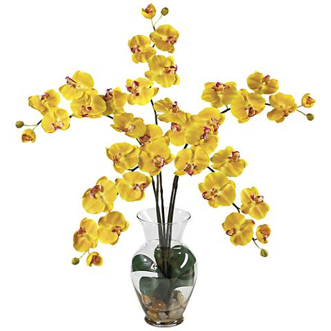 Yellow Phalaenopsis Orchid 31h Faux Flowers In Glass Vase 16j50