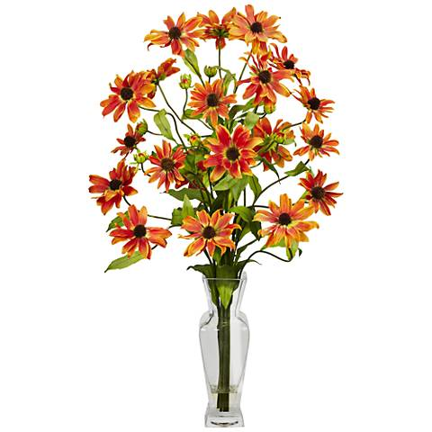 """Orange Cosmos 27"""" High Faux Flowers in Glass Vase"""