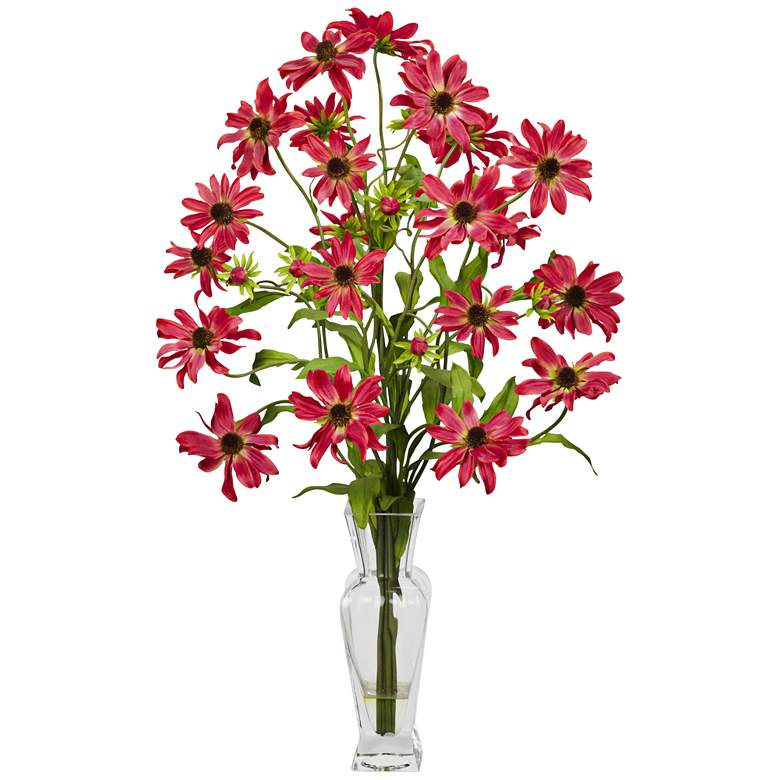 "Red Cosmos 27"" High Faux Flowers in Glass Vase"